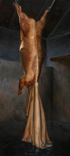 ¡Haber nacido para vivir de nuestra muerte! (César Vallejo) 2006, óleo sobre lienzo 200X91.5 cm