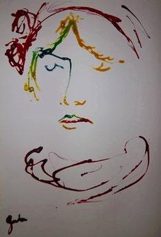 Encre / papier. Autoportrait