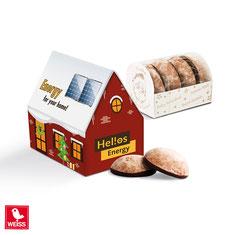 Lebkuchen bedrucken, Lebkuchen Haus bedrucken, Lebkuchen mit Logo, Lebkuchen Haus, Lebkuchen Haus bedruckt, Werbemittel Weihnachten