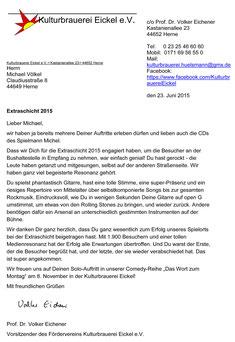 Empfehlungsschreiben - Michael Völkel - Musiker und Entertainer