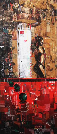 "Dehtiar Svetlana, ""Eva"", Collage, 42  x 100 cm, 2012, gerahmt,"