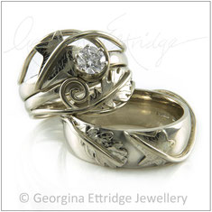 Matching Ring Sets.  Complimentary Designs - Bespoke Handmade Rings