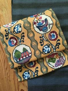 麻の紅型帯と単衣紬の琉球絣