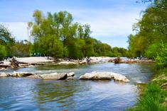 Baignade dans l'Isar, rivière de Munich