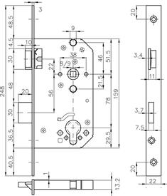 Einsteckschloss MSL Casa Beta 1123 Eckstulp