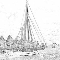Historisches Seegelboot