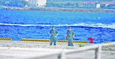 PAC3配備に向け、新港地区を現地調査する自衛隊員(29日午前)