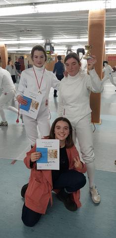 Das U-15-Damendegen-Trio mit Alexia Kail, Maja Acalski und Mia Arbogast
