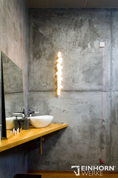 Betonoptik Wand im Badezimmer