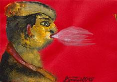 Männliches Gesicht mit großem Luftdruck auf rotem Briefumschlag
