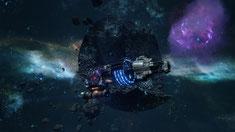 Bild eines Raumschiffs vor einem Planeten