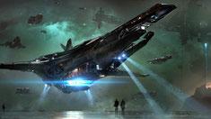 Bild eines grossen Raumschiffs das landet