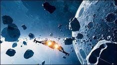 Bild eines Raumschiffs im Asteroidenbelt