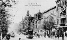 Die Badstraße mit Straßenbahn um 1900