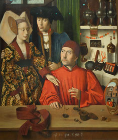 Detail: A Goldsmith in his Shop, c. 1450, Petrus Christus, Metropolitan Museum of Art. Photo: Nina Möller - Fashion Houppelande