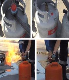 Extinción por eliminación en bombona de butano. Bomberos de Granada