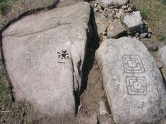 Gravure principale, cupule anthropique et soléiforme sur le site du Potevert