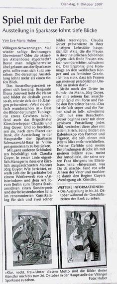 """Pressebericht Schwarzwälder Bote """"Spiel mit der Farbe"""""""