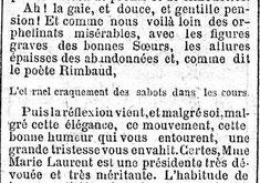 Articolo de «Le Gaulois» in cui appare il verso inedito di Rimbaud, 1885