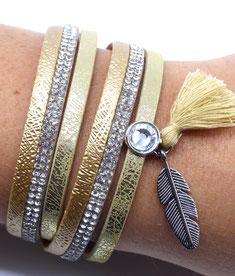Bracelet tendance multi-rangs or pour Elle