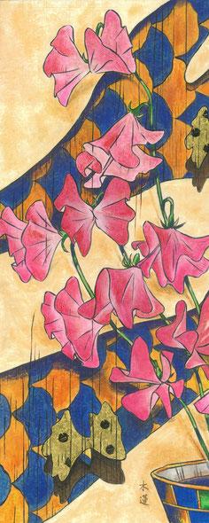 「春招き スイートピー」日本画 450x180mm