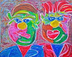 Deutschländer, Divo Santino, typisch Deutsch, Ehepaar, motzen, jammern, böses Gesicht, dicke Menschen, grimmig, Besserwisser, bunt, farbintensiv, Acryl, Pastell-Kreide