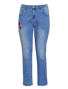 Bootcut Jeans mit bestickter Blume Plus Size