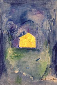 ー 森の教会へ ー  水彩  純金箔   (個人蔵)