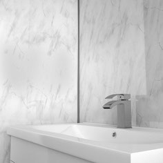 Acrylic stone sinks can be seamlessly integrated in solid surface worktops
