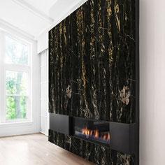 Granitas ir keraminis akmuo atsparus ugniai ir braižymui, todėl idealiai tinka židinių apdailai