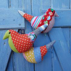 oiseaux deco artisanaux en patchwork