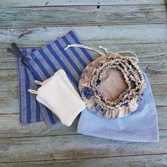 kit zéro déchet, charlottes à plat, essuie tout lavable sac à fruit éponges en coton
