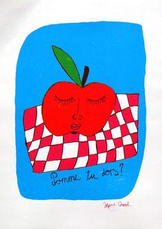 «Pomme tu dors» Siebdruck 3 Farben
