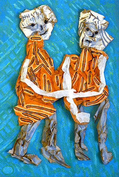 Mme et Mme 1: Papier, Acryl im Bildkasten, 35 x 25 cm, 2015