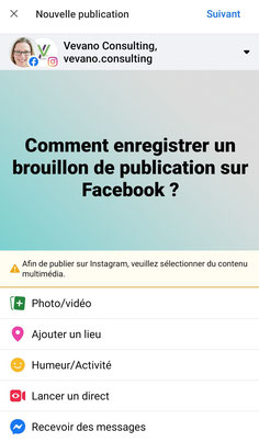 créer brouillon publication facebook suite business smartphone mobile