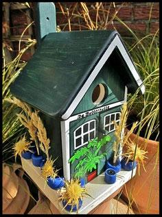 Houten nestkastjes - zakelijk touch, potten, blauw, De Botterhutte