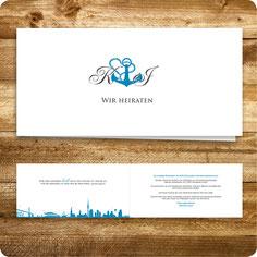 Einladungskarte Hochzeit Hamburg maritim
