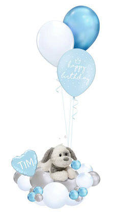 Ballon Luftballon Heliumballon Deko Dekoration Überraschung Mitbringsel Ballonpost Ballongruß Versand verschicken rosa blau Hund Plüschtier Geburtstag happy birthday Geschenk Idee Ballonpost Wolke Bouquet Heliumballons süß Kuscheltier weich Herz Krone