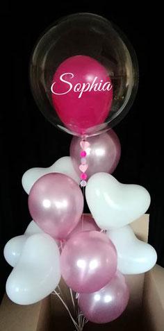 Wunschbubble Bubble Ballon Luftballon personalisiert mit Namen Geburtstag Geschenk Bouquet Strauß Paket Herz Herzen Herzchen verschicken individuell beschriftet Mädchen Junge Frau Geburt Taufe Baby