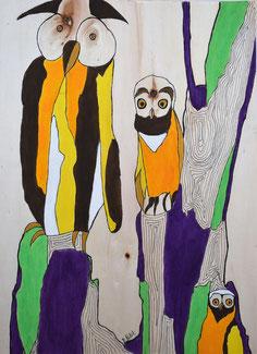 Oiseaux n°6, acrylique et posca sur bois