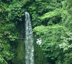 Canopy sobre Catarata Rio Fortuna y Catarata Pino Blanco