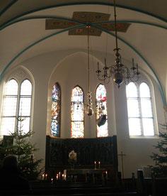 An der Decke in der schwedischen Kirche haben wir u.a. das småländische Wappen entdeckt.