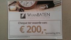Een sponsoring cheque van W van Baten Administratiekantoor in Almere