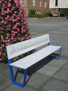 """""""Jazz 01 HPL Seat"""" - bench made of HPL and steel without armrests - individual decor and color coating possible! Robust and color stable."""
