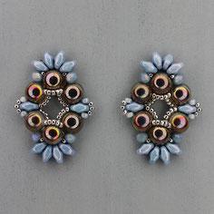 Ohrringe grau-silber-hellblau Cabochon Duo