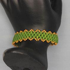 Armband grasgrün-gold Miyuki Duo