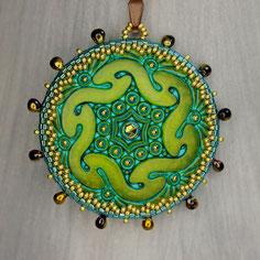 Anhänger grün-gold-türkis Knopf Miyuki