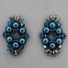 Ohrringe Cyan blau Cabochon Duo