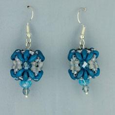 Ohrringe grau-cyan blau-hellblau Duo Glasperlen