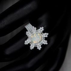 Ring weiß-opal Swarovski Chaton Miyuki